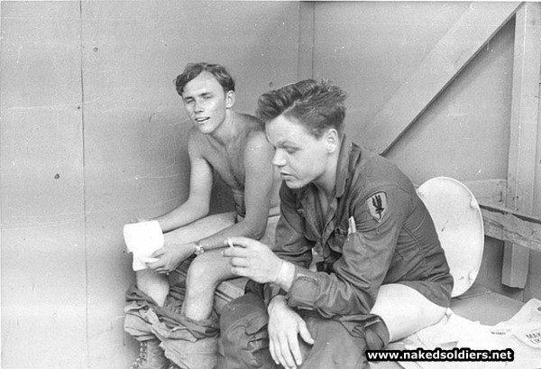 american soldiers in latrines