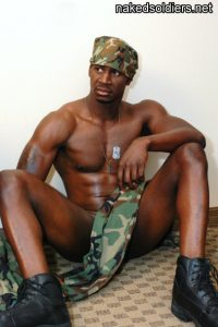 Black army man naked