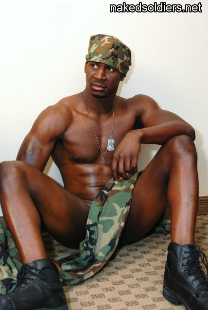 Black army man naked