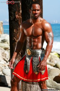 Black muscle warrior naked