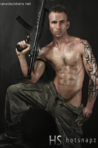 Naked soldier with gun